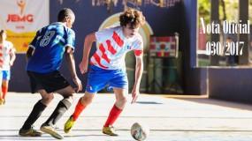 Publicada a Nota oficial 030/2017 – Alteração do local da competição do futsal masculino, voleibol e xadrez da SRE Teófilo Otoni (sede Teófilo Otoni)