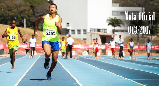 Publicada a nota oficial 043/2017 – Alteração do calendário de competições e do programa/prova da modalidade de atletismo.