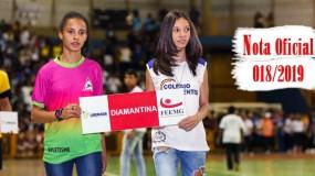 Publicada a nota oficial 018/2019 – Alteração de local dos jogos da SRE Diamantina (sede Diamantina)