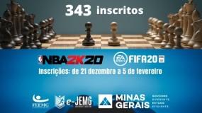Xadrez virtual atinge a marca de 343 inscritos. NBA2K20 e FIFA2020 abrem inscrições