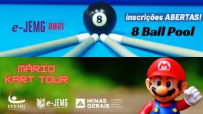 e-JEMG: mais oportunidades no mundo virtual. Inscreva-se nas modalidades 8 Ball Pool e Mário Kart Tour